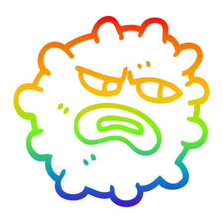 rainbow gradient line drawing of a cartoon funny germ