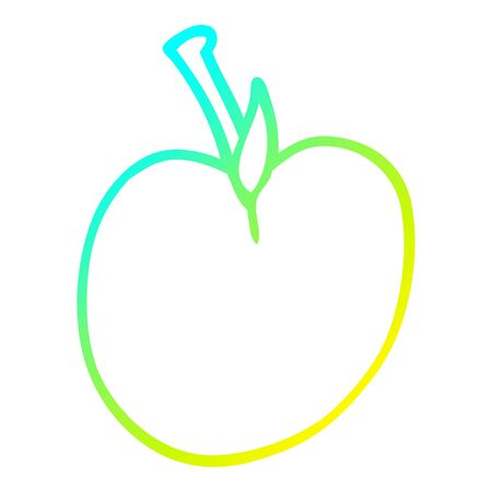 cold gradient line drawing of a cartoon of an apple