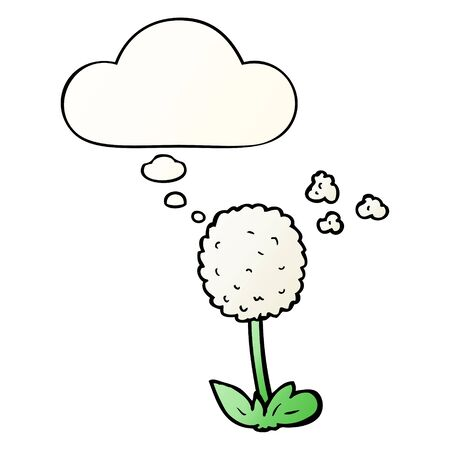 cartoon flower with thought bubble in smooth gradient style Ilustração