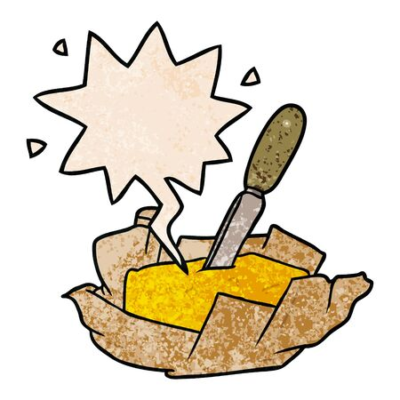 cartoon traditional pat of butter with knife with speech bubble in retro texture style