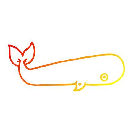 warm gradient line drawing of a cartoon sea whale Standard-Bild - 128890509
