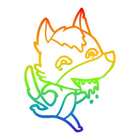 rainbow gradient line drawing of a cartoon hungry wolf running