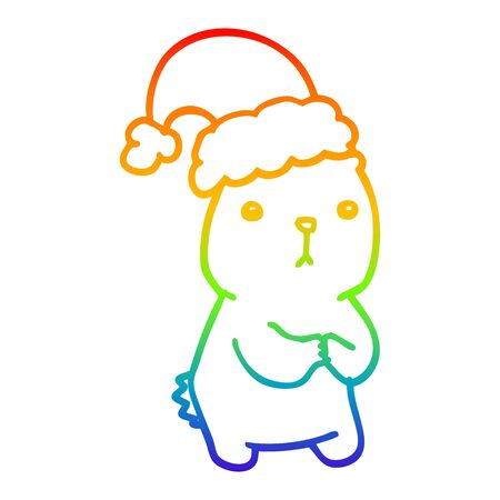 rainbow gradient line drawing of a cartoon christmas bear worrying Illustration