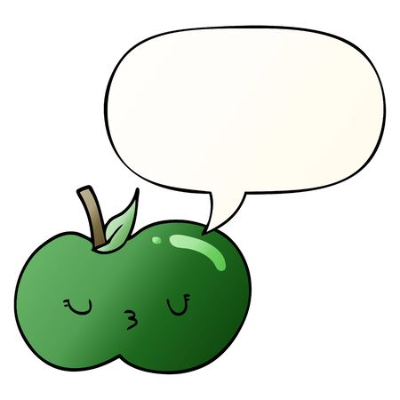 cartoon cute apple with speech bubble in smooth gradient style