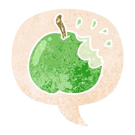cartoon bitten apple with speech bubble in grunge distressed retro textured style 일러스트