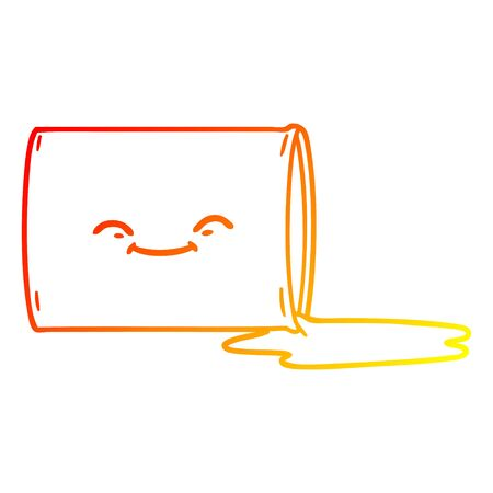 warm gradient line drawing of a cartoon happy oil drum
