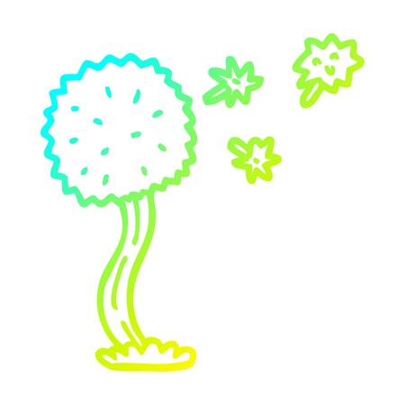 cold gradient line drawing of a cartoon blowing dandelion