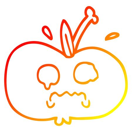warm gradient line drawing of a cartoon of a sad apple Ilustração