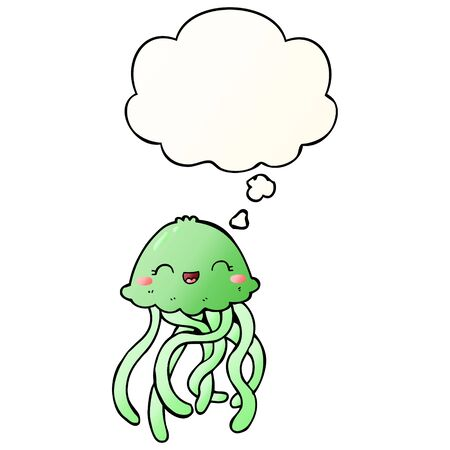 cute cartoon jellyfish with thought bubble in smooth gradient style