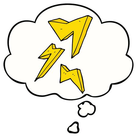 cartoon lightning bolt with thought bubble