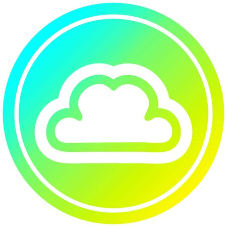 simple cloud circular icon with cool gradient finish
