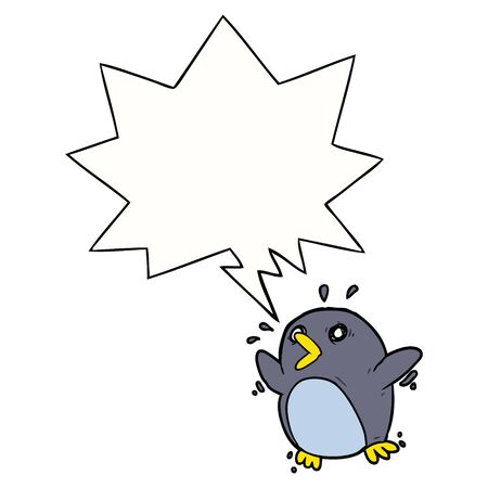 cartoon frightened penguin with speech bubble Ilustrace