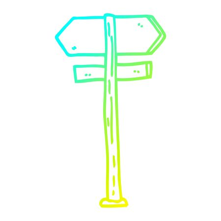 cold gradient line drawing of a cartoon direction sign