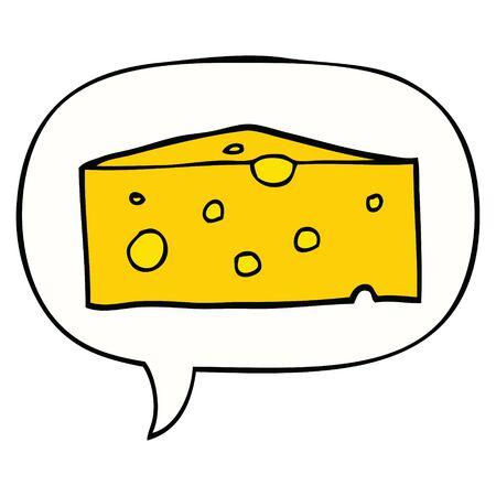 cartoon cheese with speech bubble 向量圖像