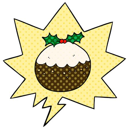 cartoon christmas pudding with speech bubble in comic book style