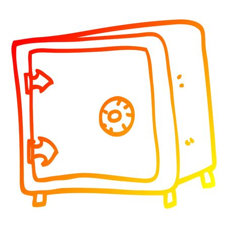 warm gradient line drawing of a cartoon old safe
