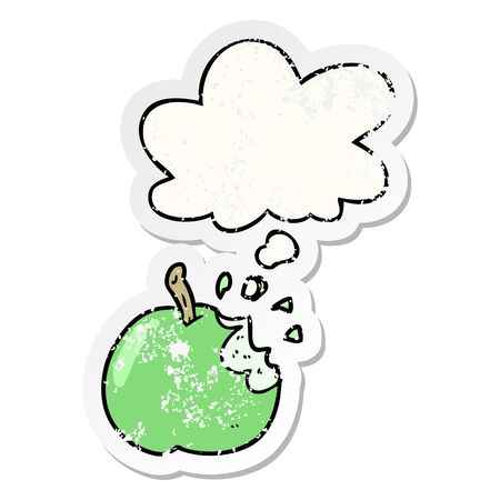cartoon bitten apple with thought bubble as a distressed worn sticker