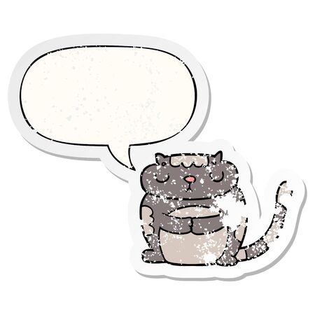 cute cartoon cat with speech bubble distressed distressed old sticker