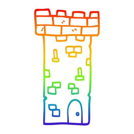 rainbow gradient line drawing of a cartoon castle tower
