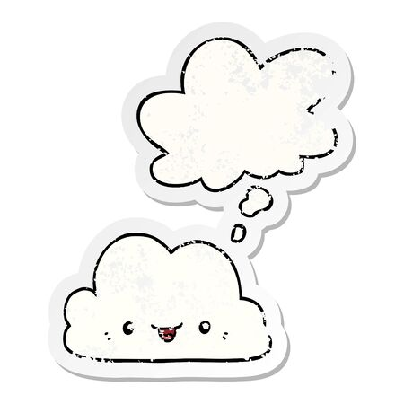 cute cartoon cloud with thought bubble as a distressed worn sticker Stok Fotoğraf - 128922732