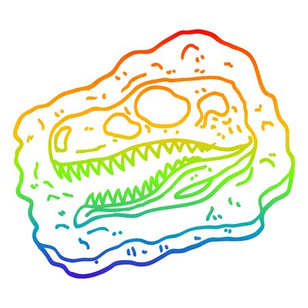 rainbow gradient line drawing of a cartoon ancient fossil