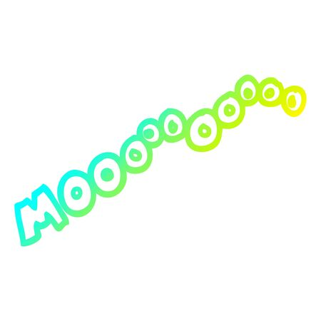 cold gradient line drawing of a cartoon moo noise