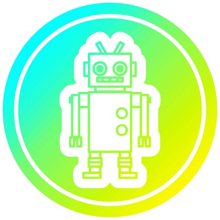 dancing robot circular icon with cool gradient finish Illustration