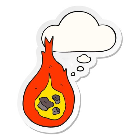 cartoon fireball with thought bubble as a printed sticker