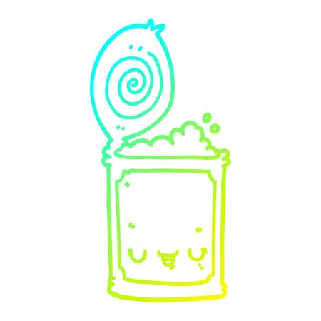 cold gradient line drawing of a cartoon canned food