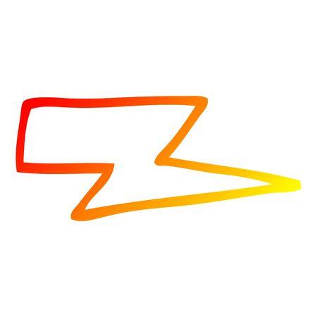 warm gradient line drawing of a cartoon lightening bolt Illustration