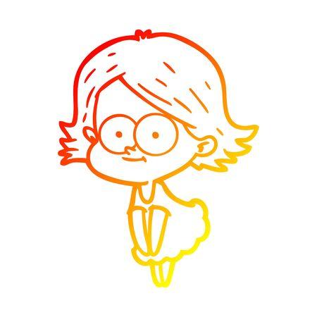 warm gradient line drawing of a happy cartoon girl