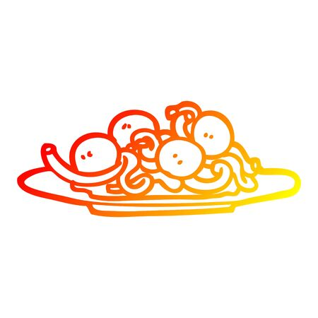 warm gradient line drawing of a cartoon spaghetti and meatballs