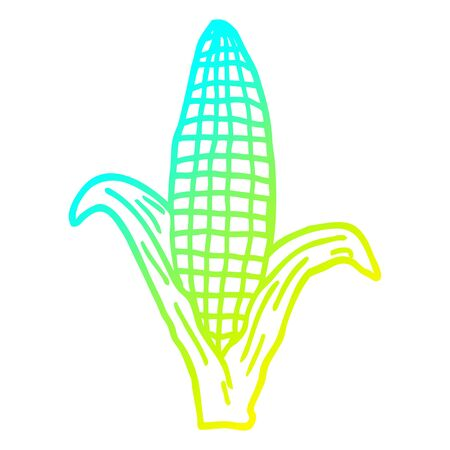 cold gradient line drawing of a cartoon healthy corn Illustration