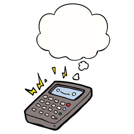 cartoon calculator with thought bubble Ilustracja