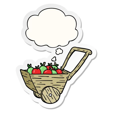 cartoon apple cart with thought bubble as a printed sticker Ilustração