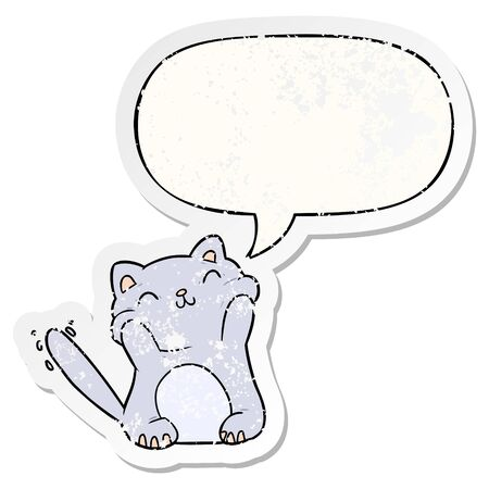 very happy cute cartoon cat  with speech bubble distressed distressed old sticker