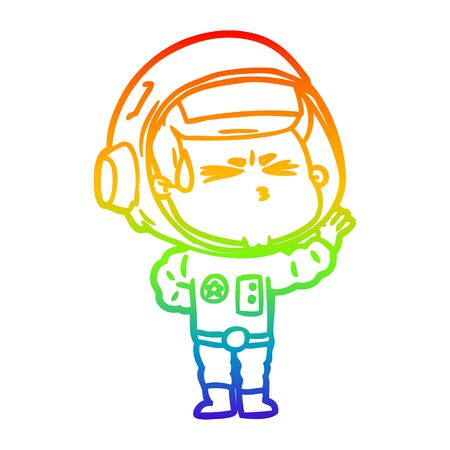 rainbow gradient line drawing of a cartoon stressed astronaut Vectores
