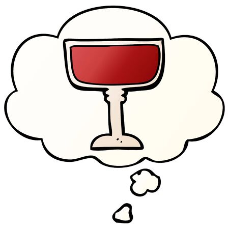 cartoon wine glass with thought bubble in smooth gradient style