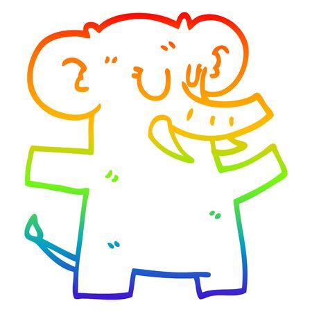 rainbow gradient line drawing of a cartoon elephant dancing Illustration