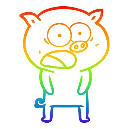 rainbow gradient line drawing of a cartoon pig shouting