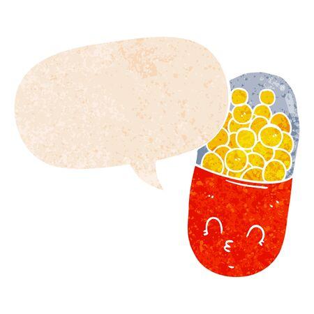 cartoon pill with speech bubble in grunge distressed retro textured style Illusztráció