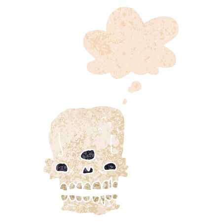 cartoon spooky skull with thought bubble in grunge distressed retro textured style