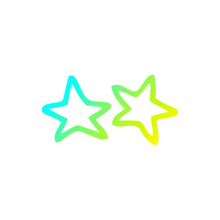 cold gradient line drawing of a cartoon stars
