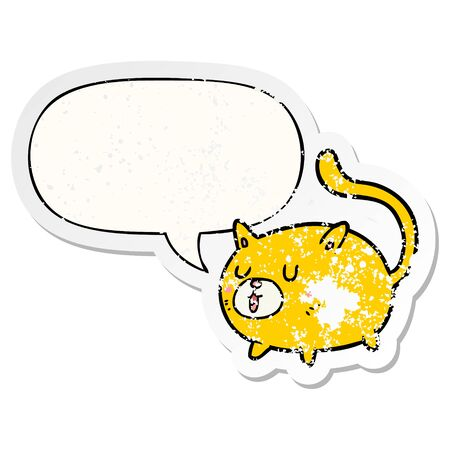 cartoon happy cat with speech bubble distressed distressed old sticker Illustration