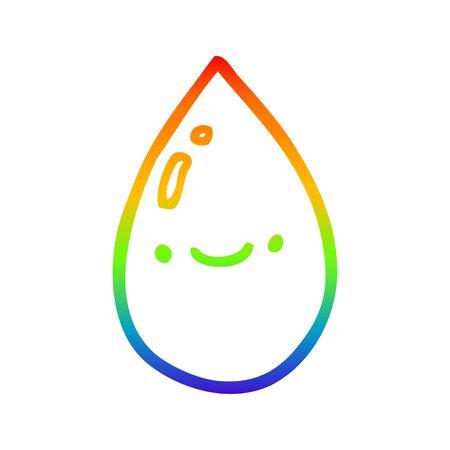 rainbow gradient line drawing of a cartoon raindrop 일러스트
