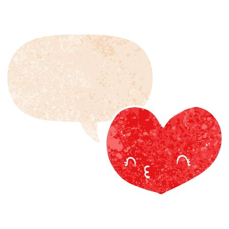 cartoon heart with face with speech bubble in grunge distressed retro textured style Ilustracja