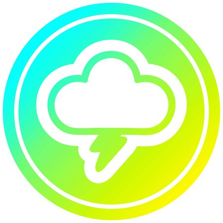 storm cloud circular icon with cool gradient finish