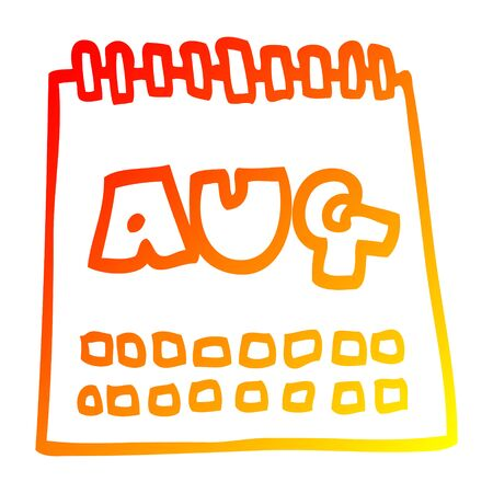 warm gradient line drawing of a cartoon calendar showing month of august