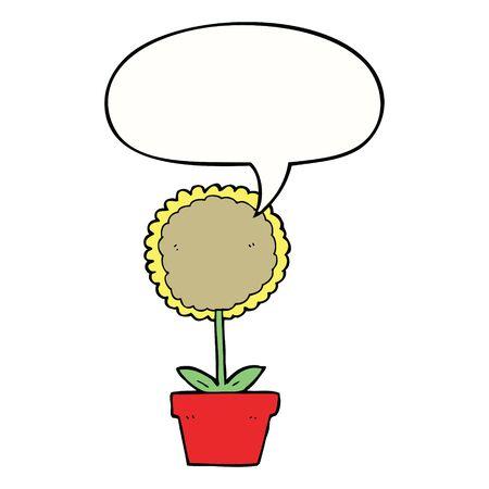 cute cartoon flower with speech bubble