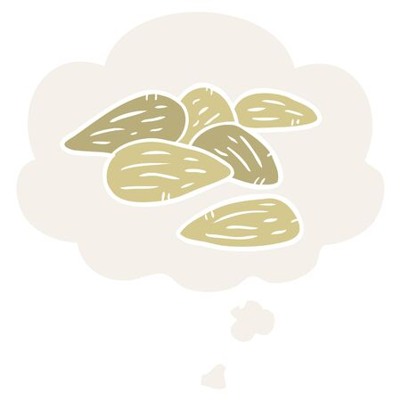 cartoon almonds with thought bubble in retro style